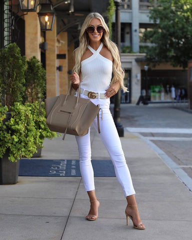 White Skinny Jeans + White Cold Shoulder Top + Heels