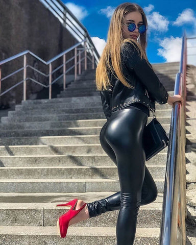 leather leggings and heels
