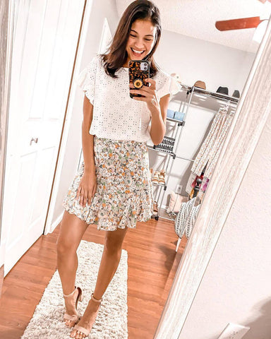 White Top + Floral Mini Skirt + Heels