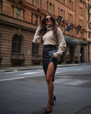 Rollneck Sweater + Leather Skirt + Heels