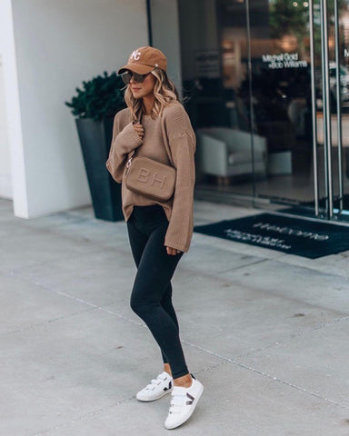 Sweater + Leggings + White Sneakers