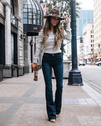 Off the Shoulder Sweater + Flare Jeans + Heels