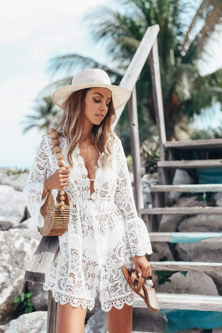 sheer lace beach cover up dress