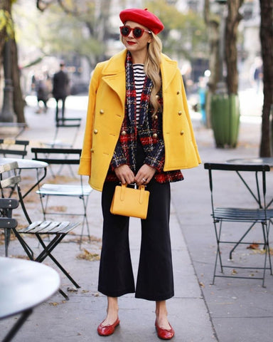 Tweed Blazer + Striped Top + Wide Leg Pants + Flats