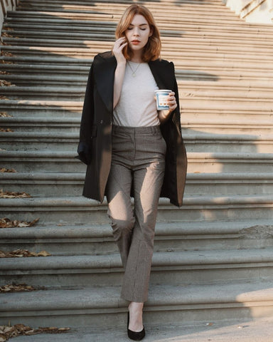Black Overcoat + Cream Tee + Plaid Pants + Heels
