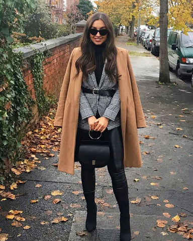 Camel Coat + Plaid Blazer + Turtleneck + Leather Leggings + Ankle Boots