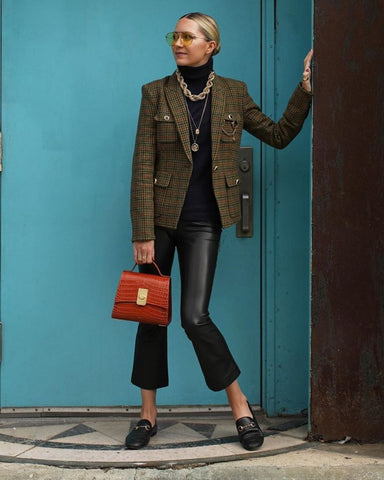 Tweed Blazer + Turtleneck + Leather Pants + Mules + Statement Jewelry