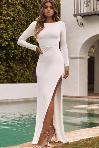 Fashion blog: 11 Cute birthday outfits for women - woman wearing backless bodycon maxi dress