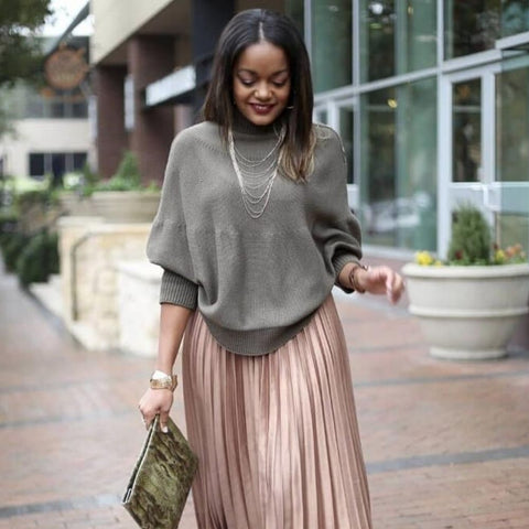 sweater and pleasted skirt