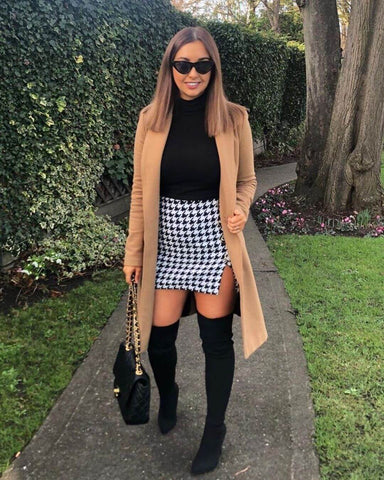 Houndstooth Skirt + Over the Knee Boots