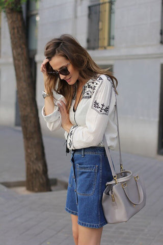 peasant blouse and denim skirt
