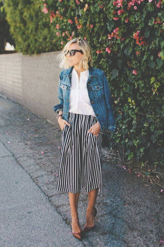 denim jacket and midi skirt