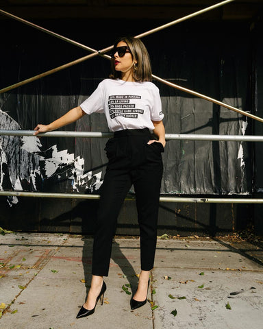 graphic tee and tailored pants