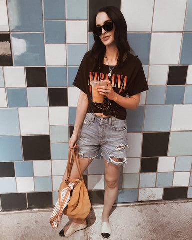 graphic tee with distressed shorts