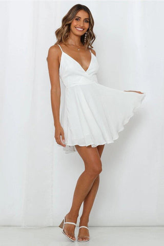 white v neck mini dress