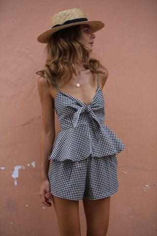 romper and sun hat