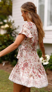 Short Sleeve Floral Mini Dress - Arona XO