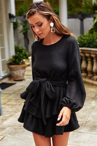 Backless Long Sleeve Ruffled Dress - Arona XO