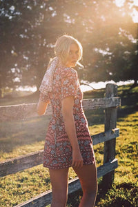 Floral Print Boho Mini Dress - Arona XO