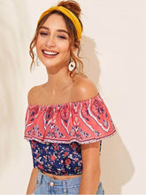 Load image into Gallery viewer, Off-the-shoulder Floral Print Crop Top - Arona XO