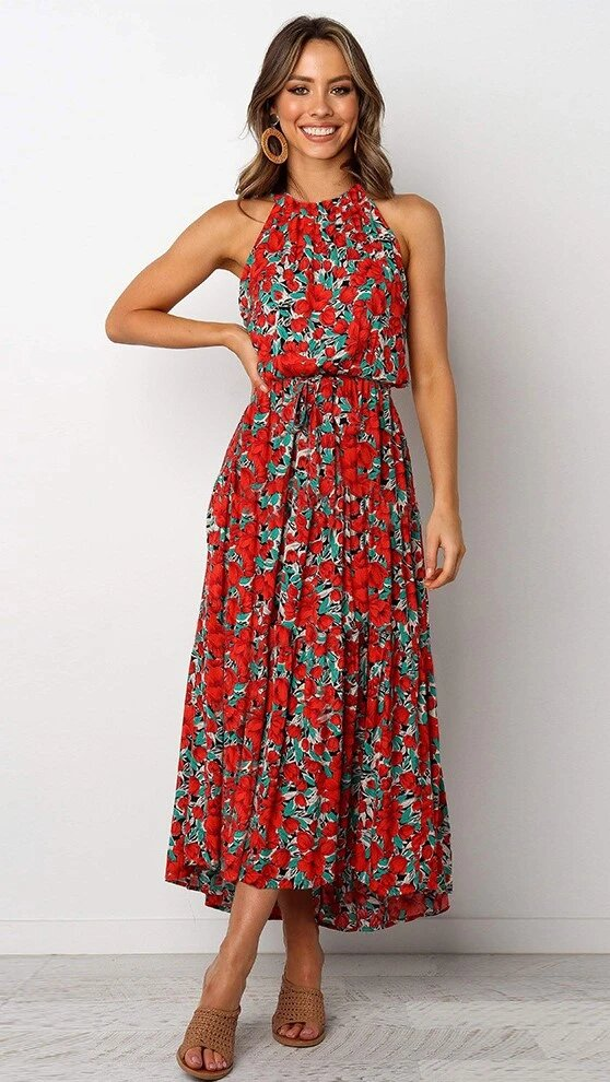 Floral Halter Neck Maxi Dress - Arona XO