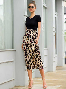 Lace-up Leopard Print Skirt - Arona XO