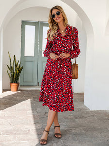 Long Sleeve Leopard Midi Dress - Arona XO