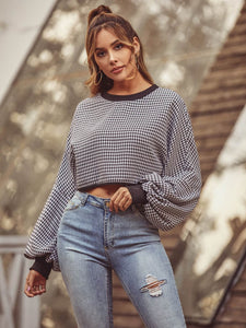 Long Sleeve Houndstooth Crop Top - Arona XO