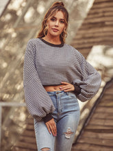 Load image into Gallery viewer, Long Sleeve Houndstooth Crop Top - Arona XO