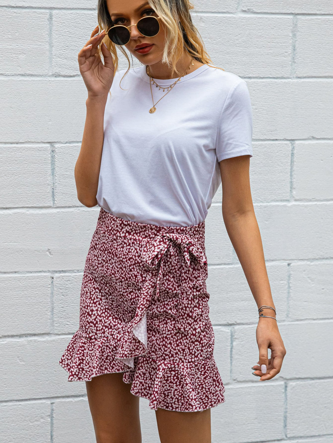 Ditsy Floral Wrap Mini Skirt - Arona XO