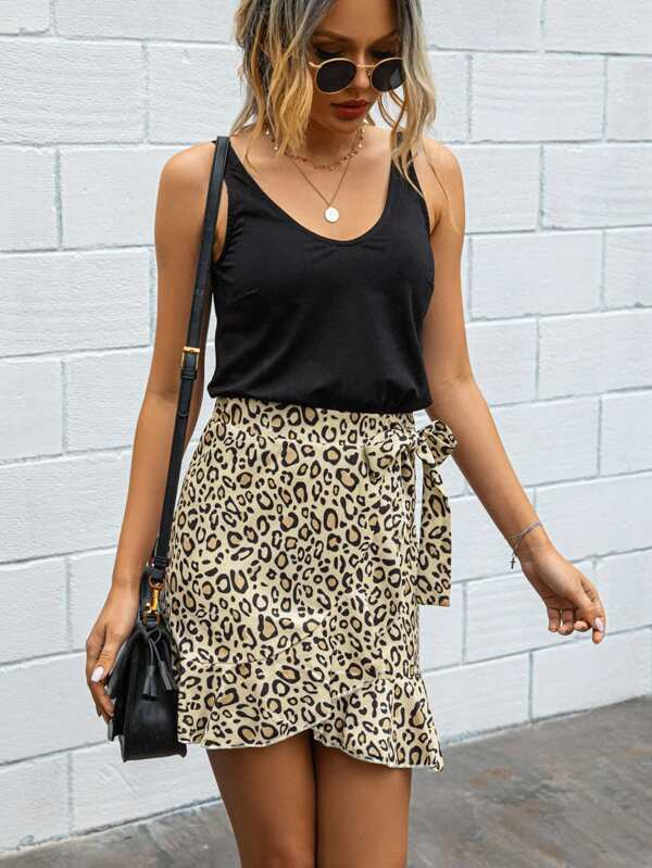 Leopard Print Wrap Mini Skirt - Arona XO
