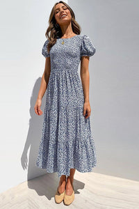 Short Puff Sleeve Floral Midi Dress - Arona XO