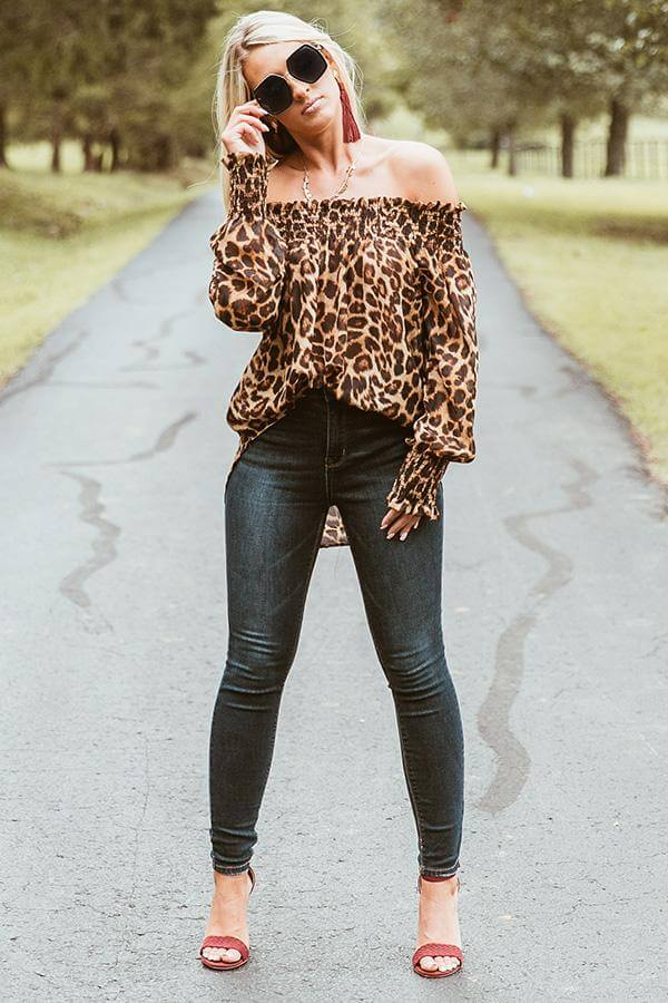 Off-the-shoulder Long Sleeve Leopard Print Blouse - Arona XO