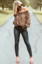 Load image into Gallery viewer, Off-the-shoulder Long Sleeve Leopard Print Blouse - Arona XO