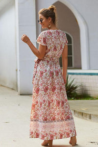 Short Sleeve Maxi Boho Dress - Arona XO