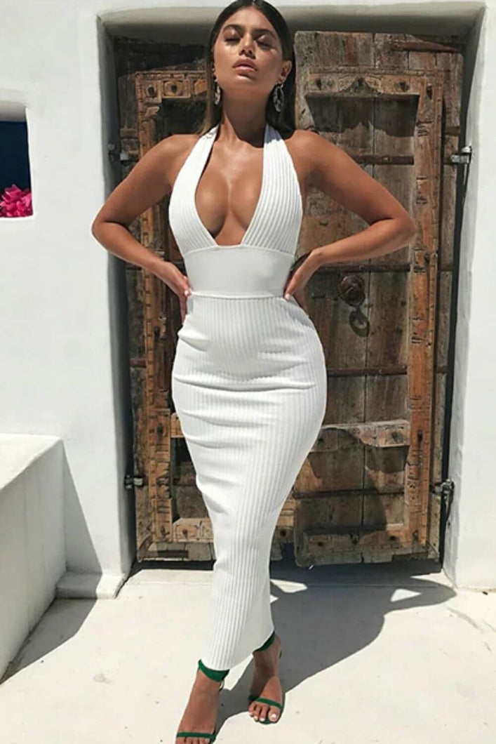 Rib Knit Halter Plunging Neck Maxi Dress - Arona XO