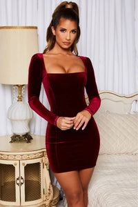 Square Neck Velvet Mini Dress - Arona XO