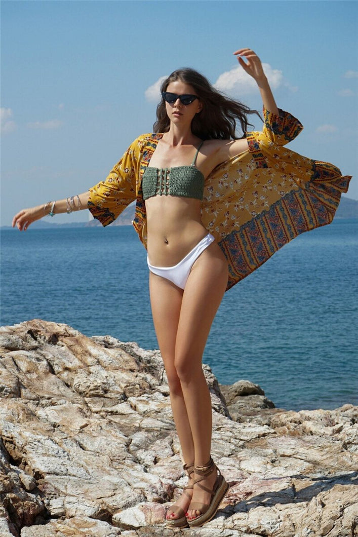 Short Swimsuit Cover-up Kimono
