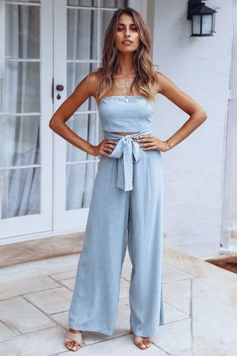 Lace-up Wide Leg Jumpsuit - Arona XO