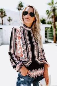 Long Sleeve Peasant Blouse - Arona XO