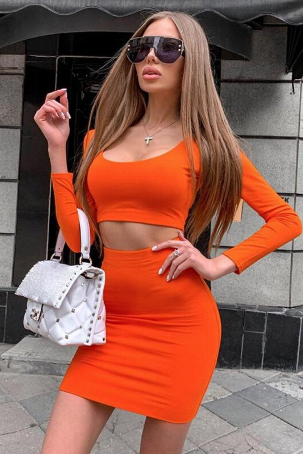Long Sleeve Crop Top & Bodycon Skirt Set - Arona XO
