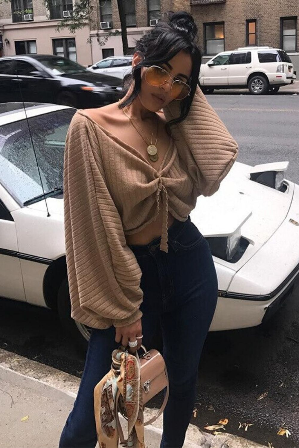 Loose Lantern Sleeve Crop Top - Arona XO