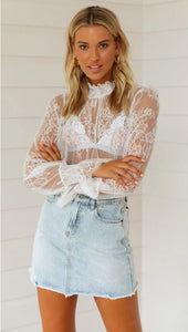 Sheer Lace Blouse - Arona XO