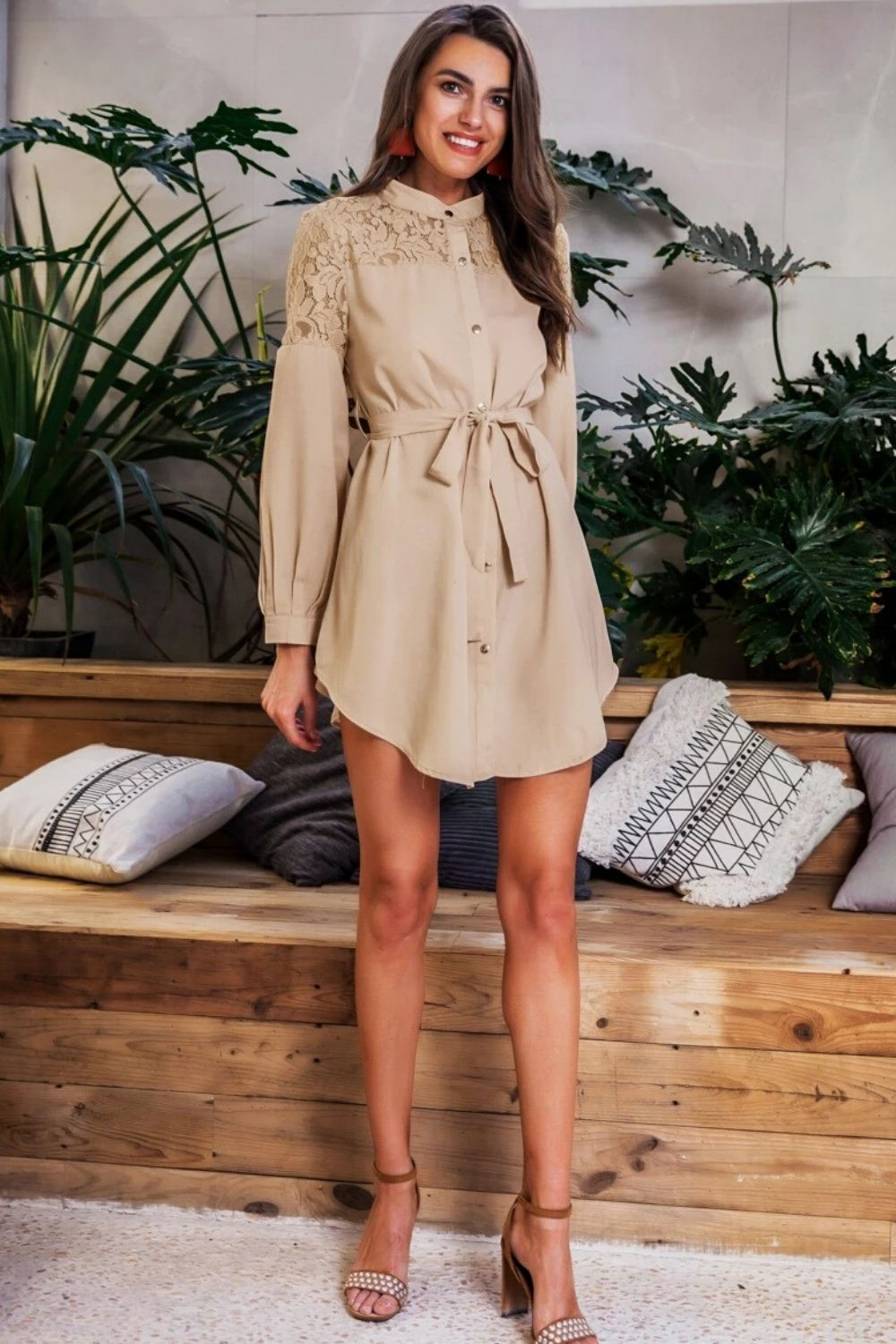Lantern Sleeve Shirt Dress - Arona XO