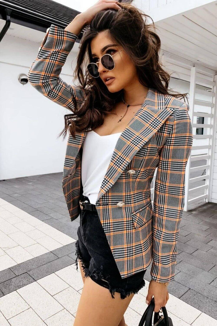 Double Breasted Plaid Blazer - Arona XO