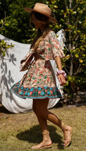 Load image into Gallery viewer, Lace-up Floral Print Boho Mini Dress - Arona XO