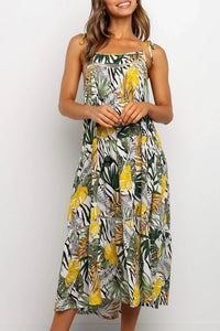Leaf Print Midi Dress - Arona XO