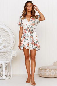 Short Sleeve Mini Lace-up Dress