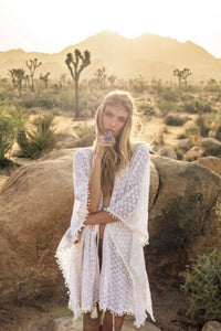 Sheer Lace Swimsuit Cover-up Kimono - Arona XO