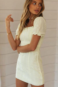 Short Sleeve Square Neck Mini Dress - Arona XO